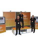 Endace USA Trade show stand constructed of the Techstyle modular display system.