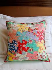 Patchwork Pinwheel pillow photo by zakkaart