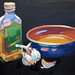 Olive oil and garlic, 33x25cn, Oil on board