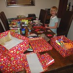 Emma doing the christmas shoe boxes<br/>14 Oct 2011