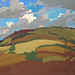 'Harvest fields', Gouache on board; 33x25cm