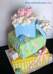 Baby Shower Stacked Gift Boxes Cake photo by Elegant Cake Creations AZ