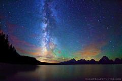 "Stars, Milky Way, Jackson Lake, Grand Teton NP photo by IronRodArt - Royce Bair (""Star Shooter"")"