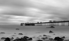 Llandudno Pier at Sunset in Black and White photo by Anthony Owen-Jones