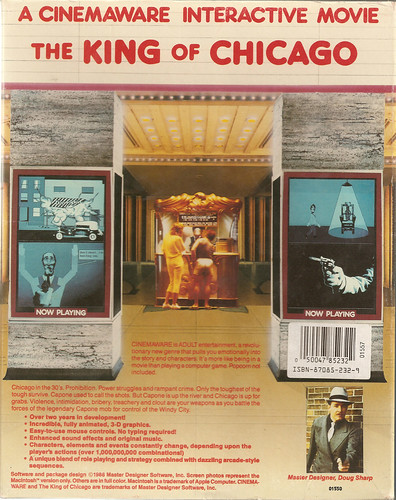 Back Cover of Doug Sharp's The King of Chicago (Cinemaware, 1986)