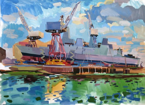 From the other side of the Clyde, Gouache on paper, 68x51cm
