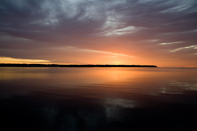solnedgång, havet, sideby