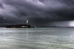 The Statue of Liberty, Hurricane Irene 2011 photo by mudpig