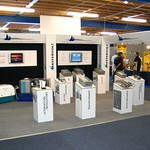EXHIBITION STAND WITH SQUARE TOWERS AND TRIANGULAR HEADERBOARDS at the boat show