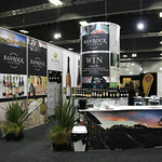 Constellation Wines tradeshow display. Presenter demonstartion tables are in front of the large Techstyle display wall.
