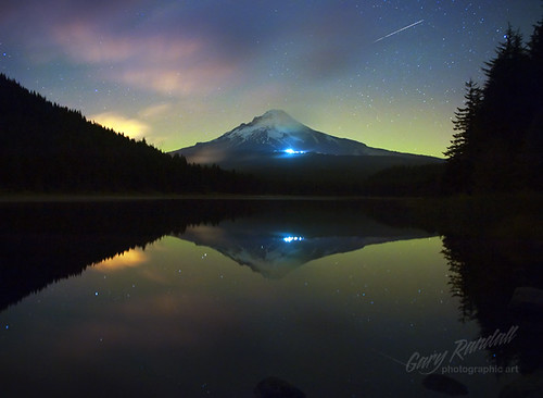 Aurora Behind Mount Hood photo by Gary Randall