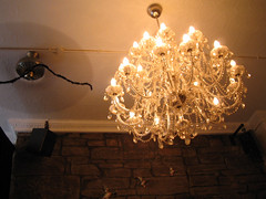 Chandelier hanging in the back room of the Dragonfly bar, Edinburgh