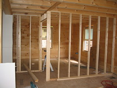 stud walls erected on the first floor