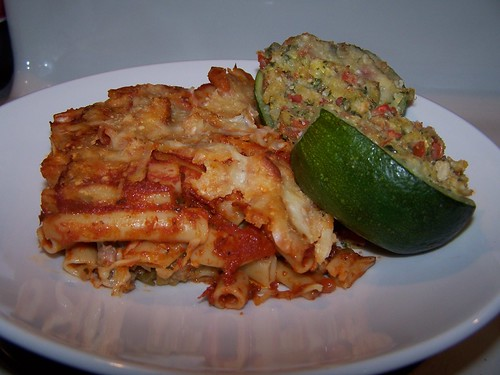 Baked Ziti and Eight-Ball Zucchini Parmesan