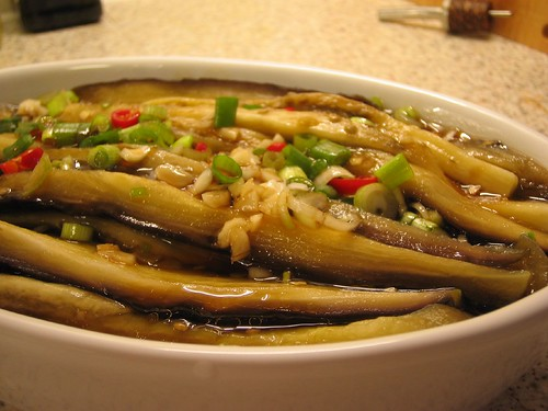 cold aubergine in oyster sauce