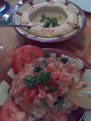 From top: hummous and baba ganoush