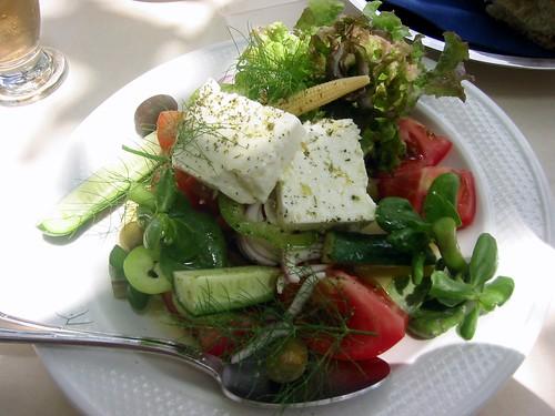 Salad in Apiranthos, Naxos Greece