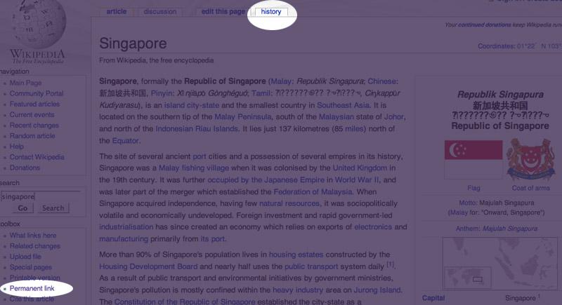 Wikipedia entry - Singapore 1