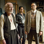 William J. Norris (Davies), Kareem Bandealy (Mick) and Anish Jethmalani (Aston) in THE CARETAKER.  Photo by Michael Brosilow