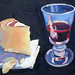 Manchego and wine, Oil on board, 33x25cm