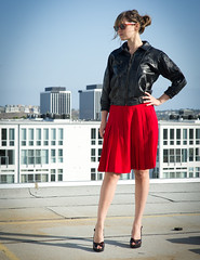 vintage leather jacket and pleated skirt photo by SalonMystique