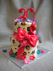 Leopard Print Birthday Cake photo by www.FlourGirlDesigns.com