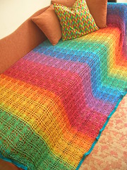 Rainbow Crochet Spiderweb Cotton Blanket With Turquoise Border photo by babukatorium