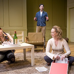 Rae Gray (Debbie), Sean Fortunato (Henry) and Natasha Lowe (Charlotte) in THE REAL THING at Writers' Theatre. Photos by Michael Brosilow.