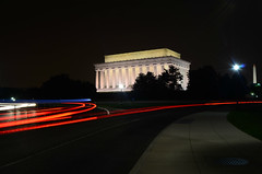 Speeding by the Lincoln Memorial at night [EXPLORE] photo by WilliamMarlow