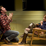 Jordan Lane Shappell (Billy) and Carrie Coon (Annie) in THE REAL THING at Writers Theatre. Photos by Michael Brosilow.