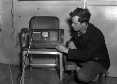 Royce Giles and miniature TV set photo by The Library of Virginia