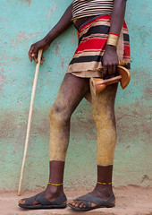 Hamer tribe man legs - Key Afer Ethiopia photo by Eric Lafforgue