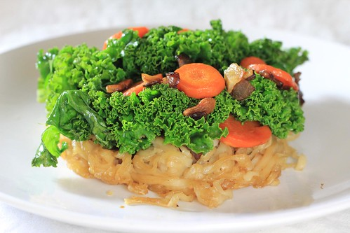 Kale and Carrots on Pan Fried Noodles