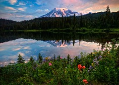 Morning Glory (Sunrise at Reflection Lake Mt Rainier HDR) photo by Fresnatic