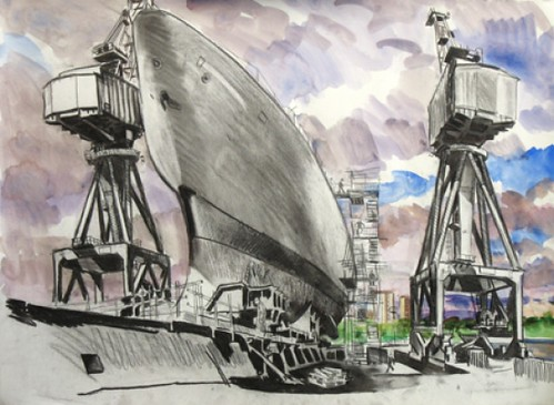 Govan slipway No 1, Charcoal, chalk and watercolour on paper, 68x51cm