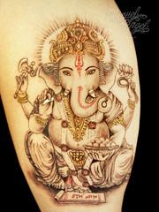 Ganesh custom tattoo (5.5 inches) photo by Miguel Angel tattoo