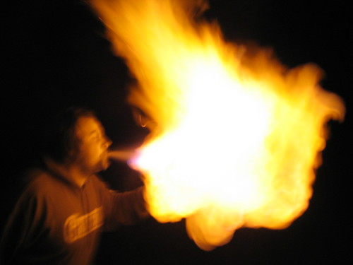 Sean breathing fire.
