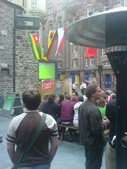 Outdoor screen and heater for the World Cup at the Three sisters, Edinburgh