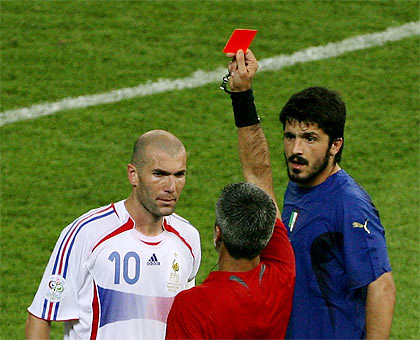Zidane gets carded