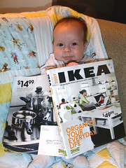 My son peruses the Ikea catalog