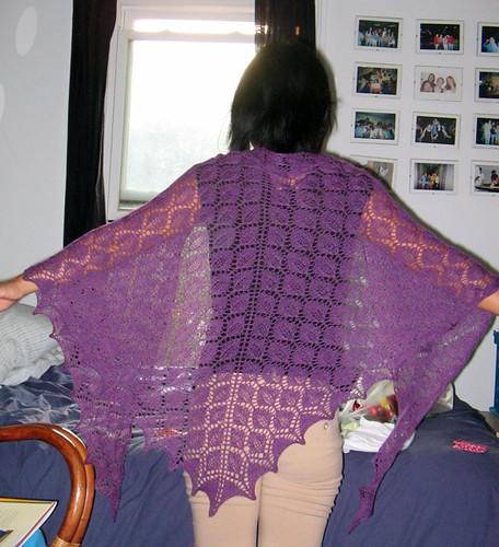 Finished shawl modeled