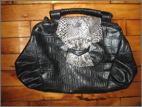 80s faux alligator & snakeskin bag