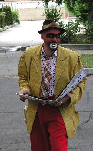 Crimebo the Crime Clown reads from his Big Book of Crime