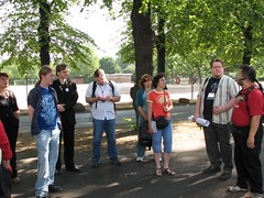 The group standing in the Kaisaniemi park