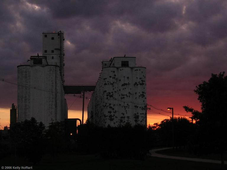 Sunrise behind a Grain Elevator