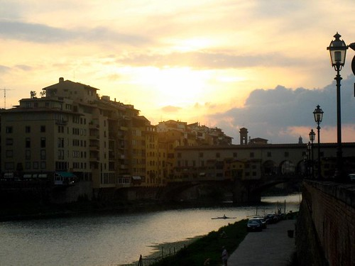 Arno and Ponte Vecchio near sunset