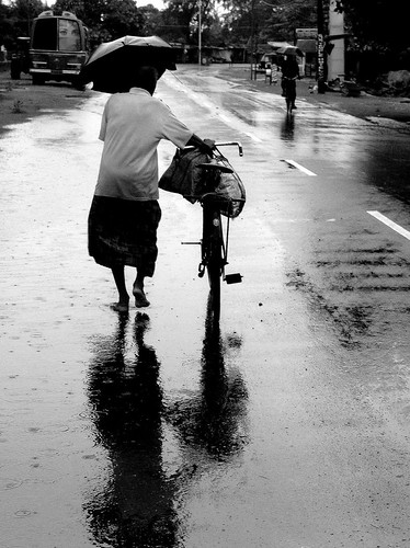A man and his bicycle and the Rain