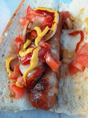 bacon wrapped hot dog...yummy!