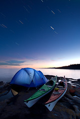 Kayak Camping Under Startrails photo by Bryan Hansel