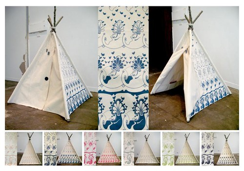 Bird and Bush Teepee by Leila Sanderson for Greg Hatton Designs